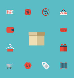 flat icons case big sale trolley and other vector image vector image