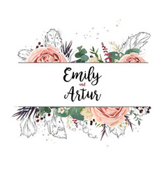Floral design card boho art wedding watercolor vector