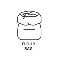 Flour bag line icon outline sign linear symbol vector