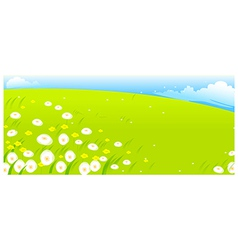 flowers with green landscape vector image vector image