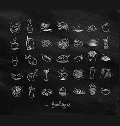 Food vintage icons chalk vector