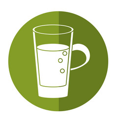 Glass cup juicy refreshment shadow vector