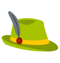 Green hat with feather icon flat style vector
