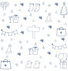 Hand draw christmas set object in doodle vector