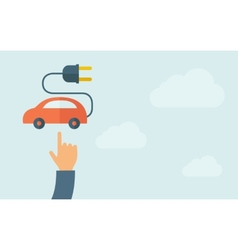 Hand pointing to rechargeable car icon vector