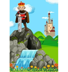 King with giant sword in his kingdom vector image