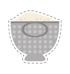 Kitchen cookware food pot tool cut line vector