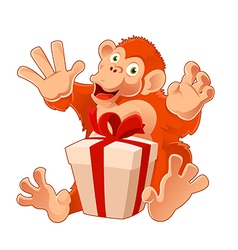 Monkey with its present vector image vector image