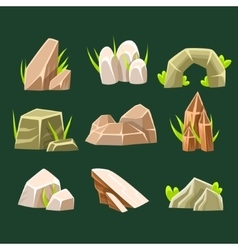 Natural Brow Rocks Of Different Shape Collection vector image