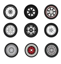 Retro cars classic and sport cars wheel set vector