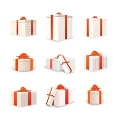 Set of white bright gift boxes with red tapes and vector