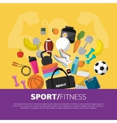Sports equipment background flat icon vector image vector image