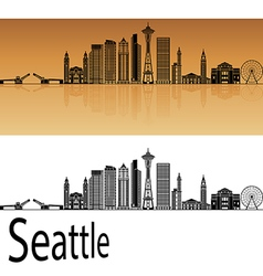 Seattle V2 skyline in orange vector image