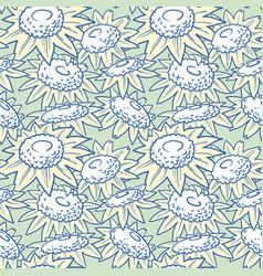 decorative sunflowers seamless pattern vector image