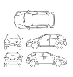 Offroad suv auto outline vehicle vector