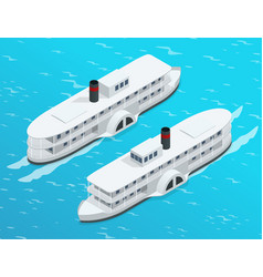 Isometric old paddle steamer ship on the river vector