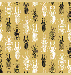 Exotic seamless pattern with insect beetles in vector
