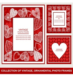 Abstract retro photo frames st valentines day vector