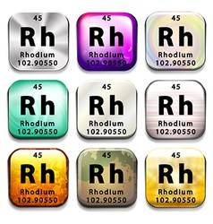 An icon showing the chemical rhodium vector