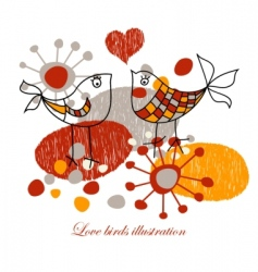 cute love birds vector image