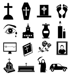 Funeral icons set vector