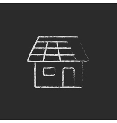 House with solar panel icon drawn in chalk vector