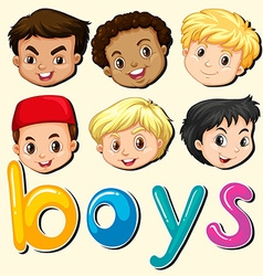 Boys with happy face vector