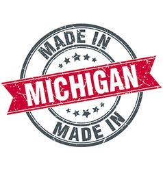 Made in michigan red round vintage stamp vector