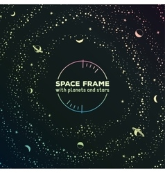 Retro futuristic frame with space stars and vector