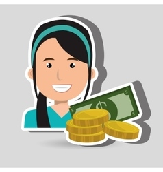 Business person with dollars isolated icon vector