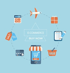 Infographic concept of purchasing via internet vector