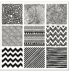 Abstract Hand Drawn Seamless Background Patterns vector image vector image