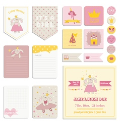 Baby shower girl set - tags banners labels cards vector
