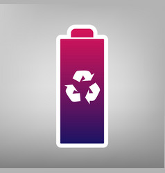 Battery recycle sign purple vector