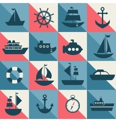 Blue and red background with sea transport vector image