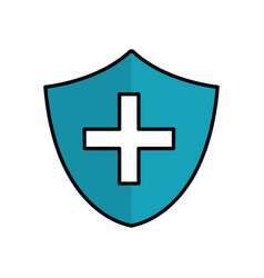 Blue seal cross emergency security line icon vector