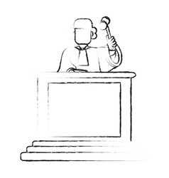 blurred silhouette faceless judge in law courts vector image