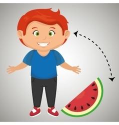 Boy cartoon sliced watermelon vector