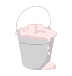 Bucket with foamy water cartoon icon vector