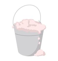 Bucket with foamy water cartoon icon vector image