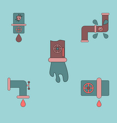 Collection of icons and water pipes vector