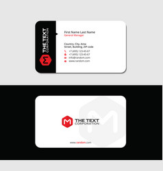 Creative business card red letter m vector