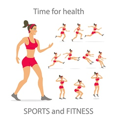 dancing girl red sports pants Cartoon flat vector image