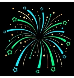 Firework explosion design on black background vector