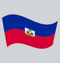 Flag of haiti waving on gray background vector