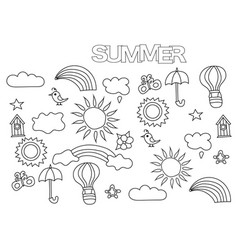 hand drawn summer weather set coloring book page vector image vector image