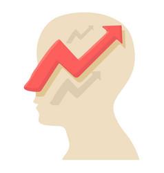 Head with arrow icon cartoon style vector