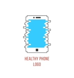 healthy phone branding with white outline phone vector image vector image