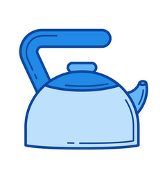 hot kettle line icon vector image vector image