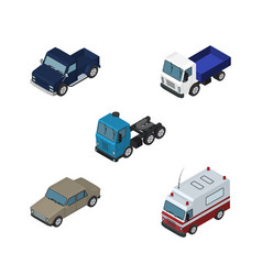 isometric transport set of lorry auto truck and vector image